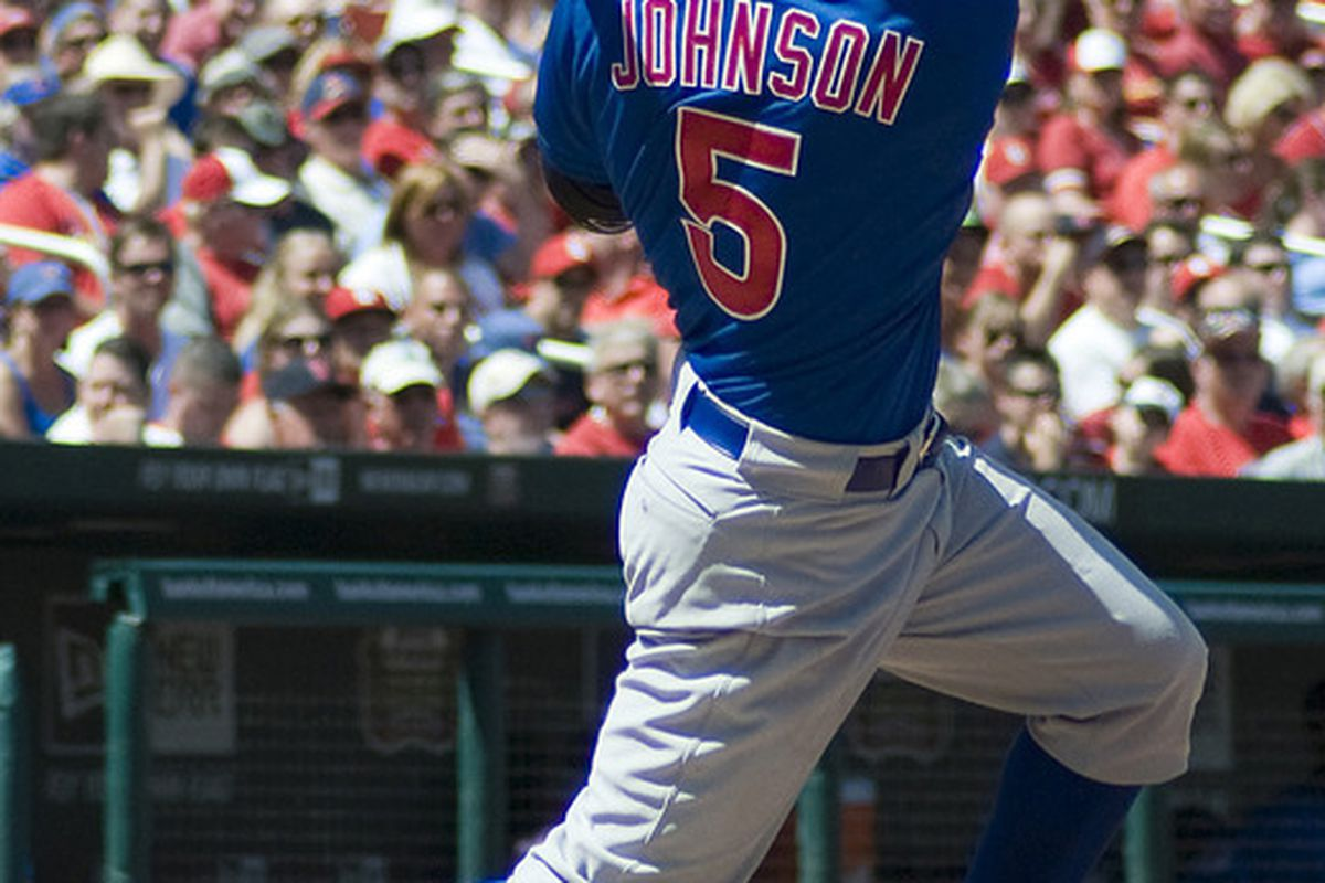 St. Louis, MO. USA; Chicago Cubs center fielder Reed Johnson hits a single against the St. Louis Cardinals at Busch Stadium. Credit: Jeff Curry-US PRESSWIRE