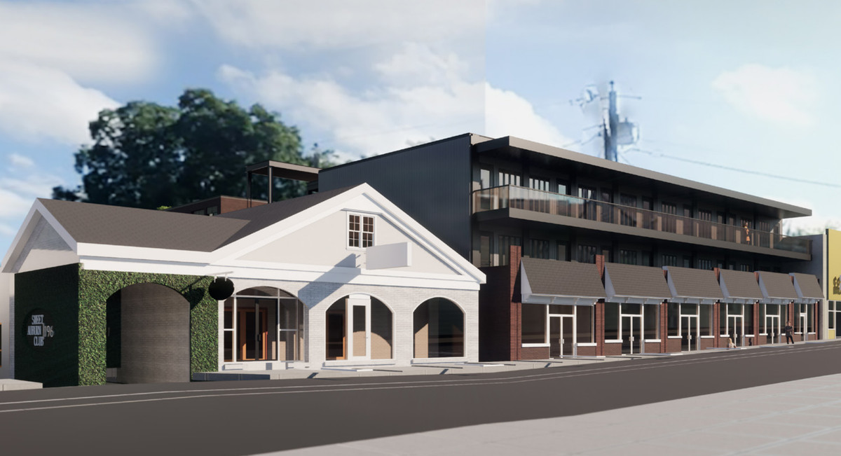 A rendering shows new construction extending above the existing commercial space.