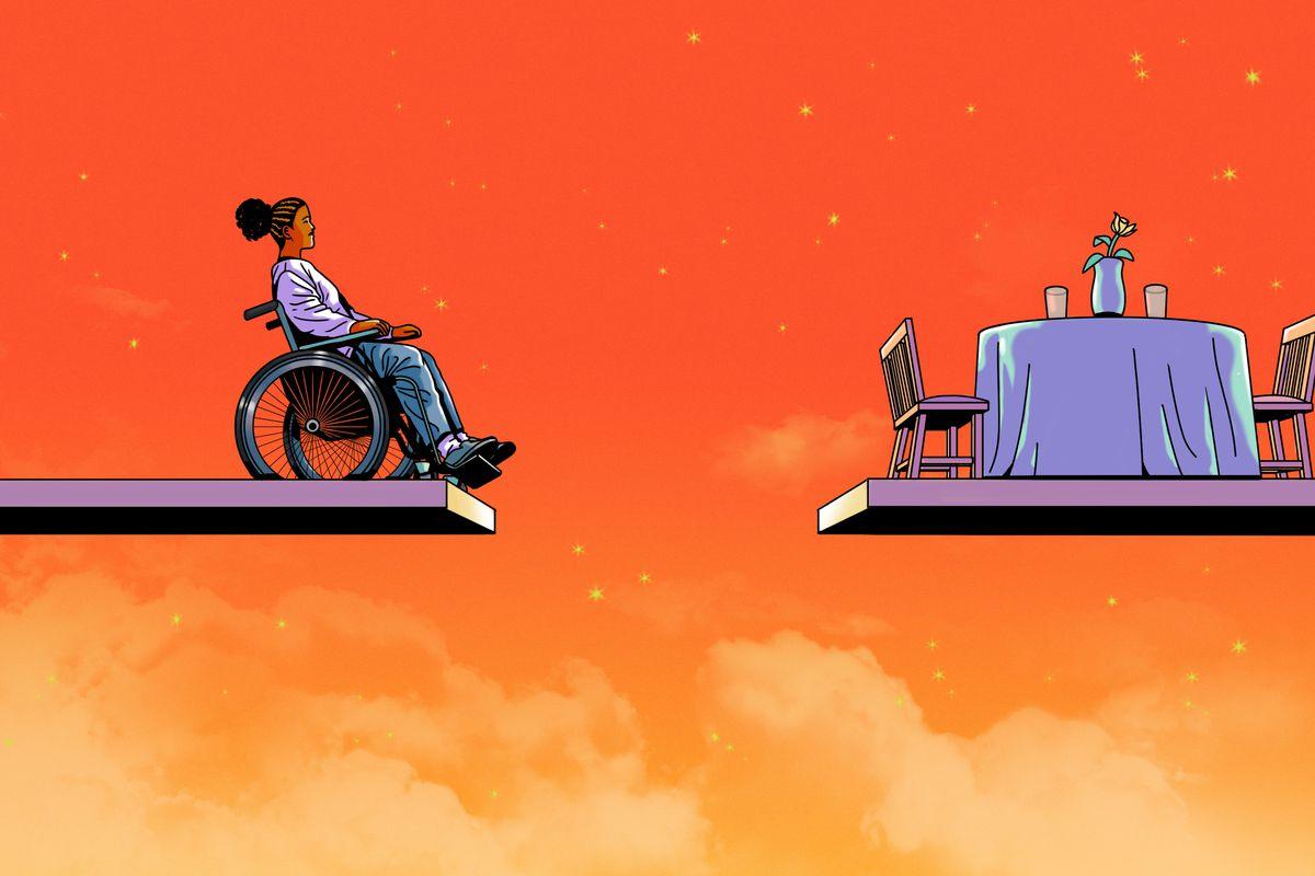 一名妇女的例证在坐在一个高平台的结束的轮椅的。来自她的对面是另一个持有餐桌和两把椅子的平台。这两个平台被女人不能交叉的巨大差距。背景是橙色天空与云和星星。