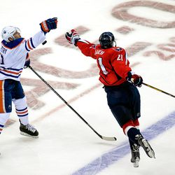Petry and Laich Reach For Puck