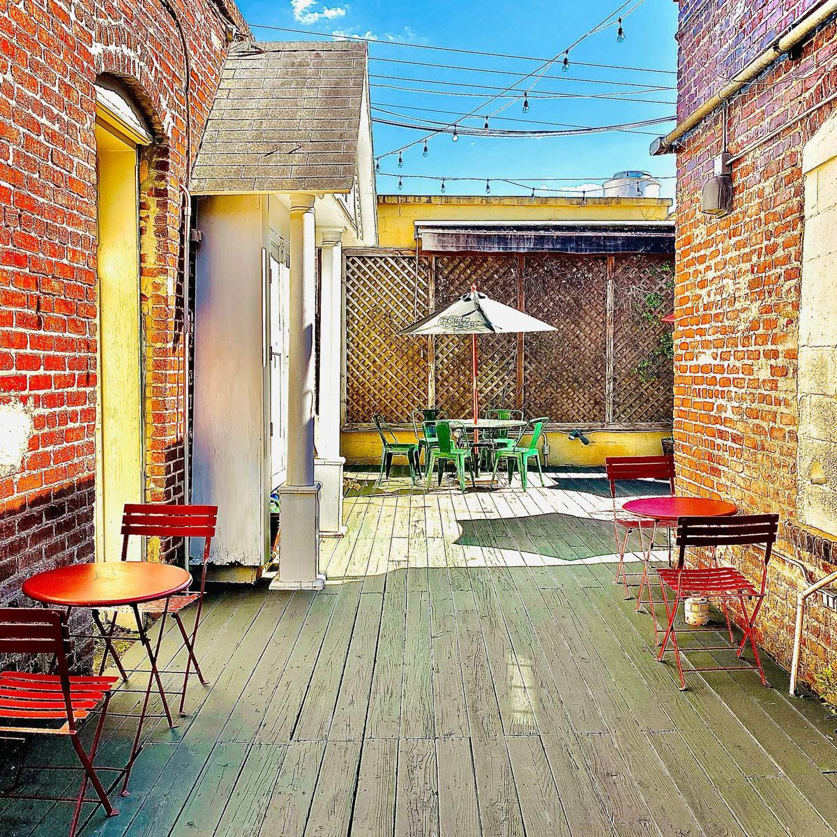The back patio at former One Eared Stag