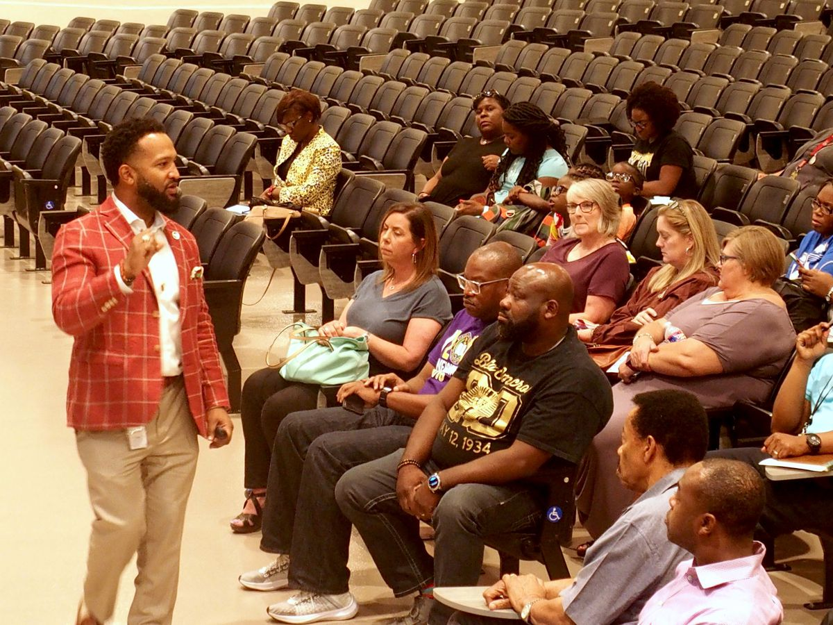Antonio Burt, the district's chief academic officer, at a meeting in Whitehaven to discuss the new retention policy.