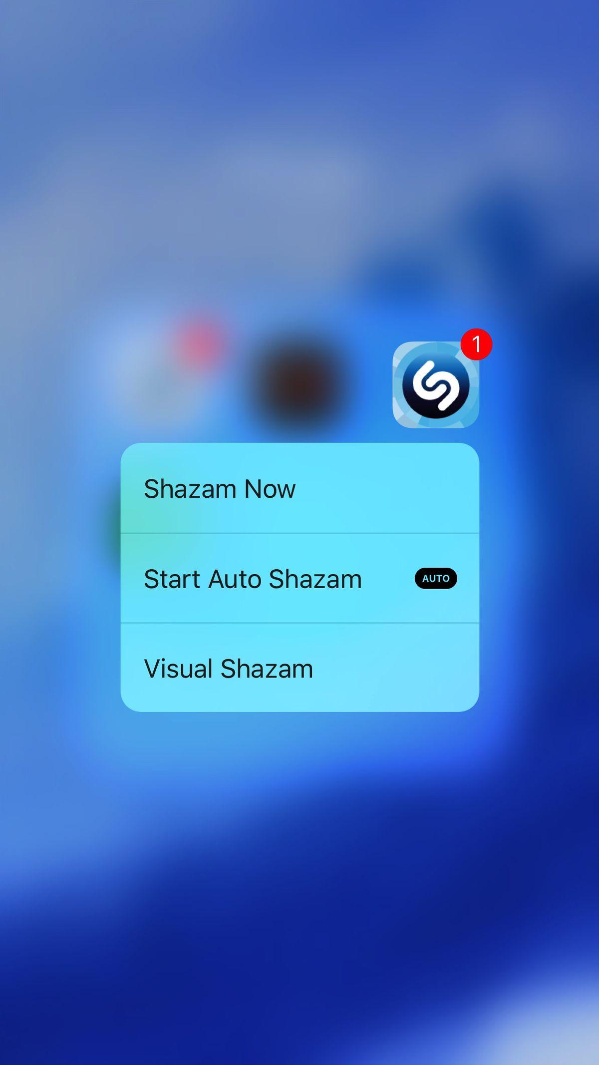 3D Touch Shazam