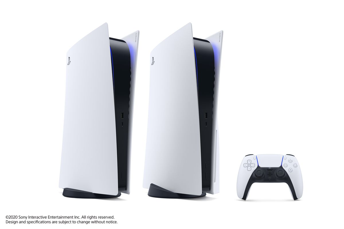 the PlayStation 5 Digital Edition standing to the left of the PlayStation 5, which has the DualSense controller standing to the right