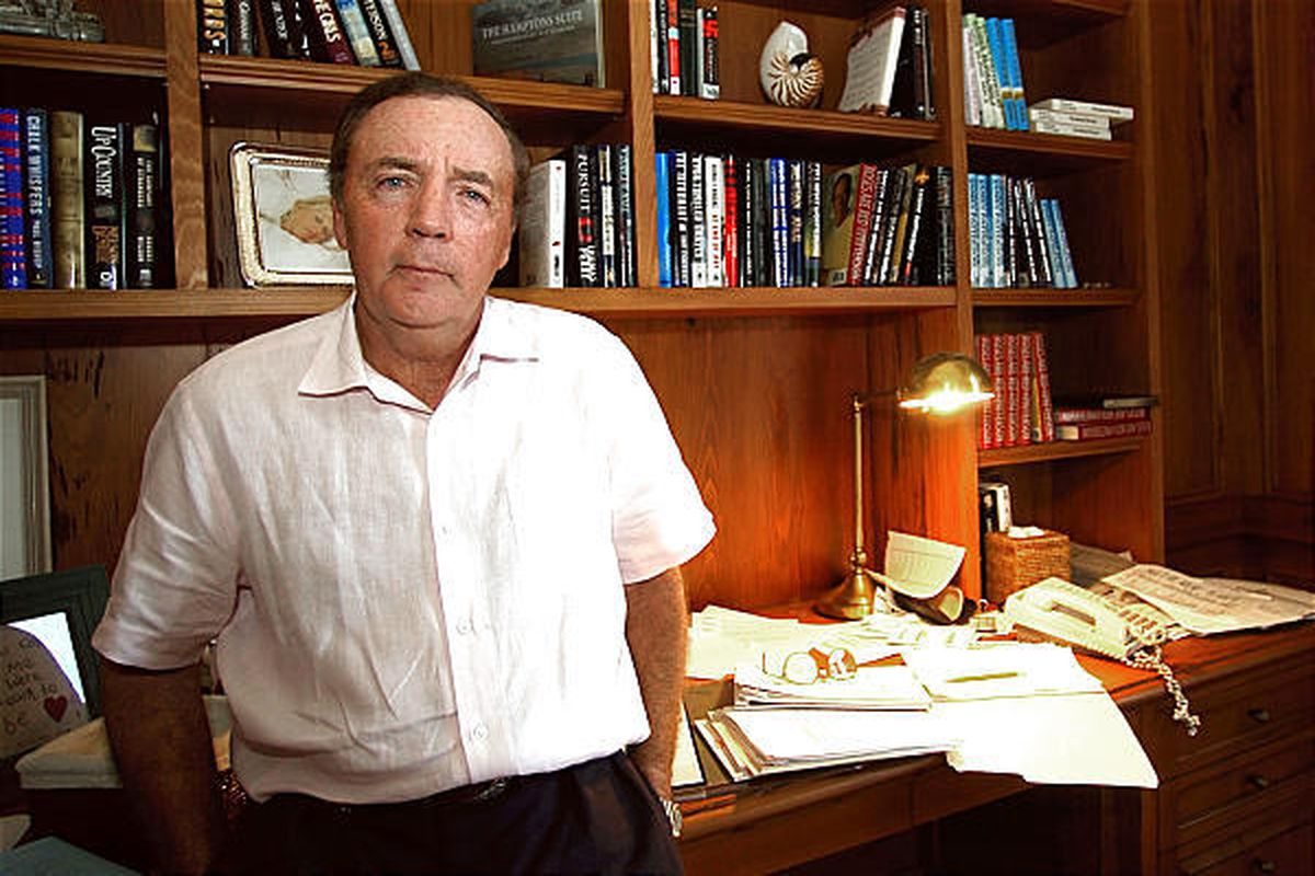 Author James Patterson, of Palm Beach Fla, posing in his study.