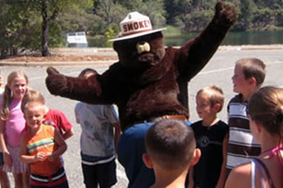 Smokey Bear is giving thumbs-up because he checked that his fur was brushed generously.