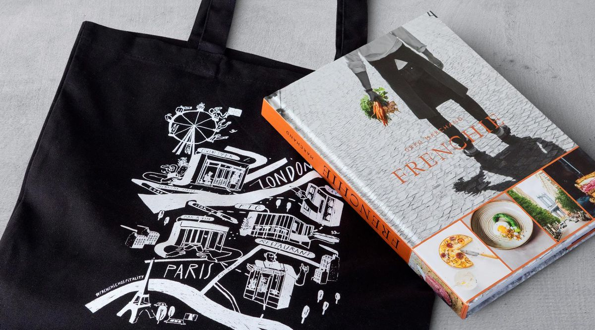 This tote bag and cookbook duo from Frenchie is some of the best restaurant merch to buy in London