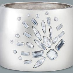 Large crystal stone bangle in silver, $29.99