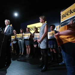 Salt Lake City Mayor Ralph Becker speaks to supporters at his election night party at Club 50 West in Salt Lake City on Tuesday, Nov. 3, 2015.