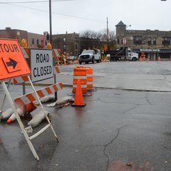11:42 a.m. Detour on Clifton Avenue. Traffic is directed through the parking lot, to connect with Clark Street -
