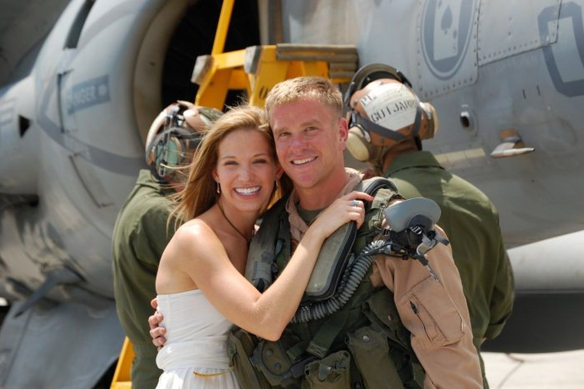 Capt. Adam Campbell and his wife, Melanie, following his return home from Afghanistan. (Photo: Courtesy Jim Beam)