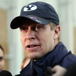 Bronco Mendenhall talks to the media after BYU spring football practice at BYU in Provo on Friday, March 22, 2013.