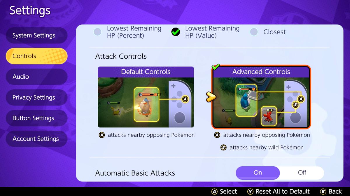 The settings menu in Pokémon Unite