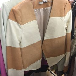 Sample leather brown and cream blazer, $99