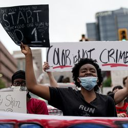 Chioma Okoro chants with other protesters as they march in Salt Lake City on Saturday, June 13, 2020. The day's demonstrations were the latest in ongoing protests against racism and police brutality that have followed the killing of George Floyd in Minneapolis.