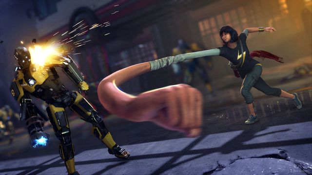 Ms. Marvel punches an AIM soldier with a giant fist in a screenshot from Marvel's Avengers.