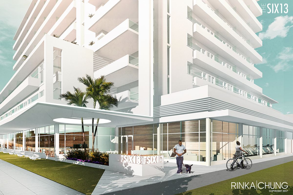Rendering of SIX13, a white mixed-use building in Fort Lauderdale