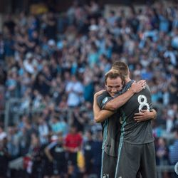 July 10, 2019 - Saint Paul, Minnesota, United States - Chase Gaspar and Jan Gregus celebrate during the quarterfinal match of US Open Cup between Minnesota United and New Mexico United at Allianz Field. (Tim C McLaughlin)