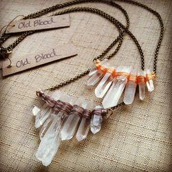 """<a href=""""http://www.etsy.com/listing/108629730/silk-fan-wrap-necklace-crystal-quartz?"""">Silk Fan Wrap Necklace</a>, $28"""