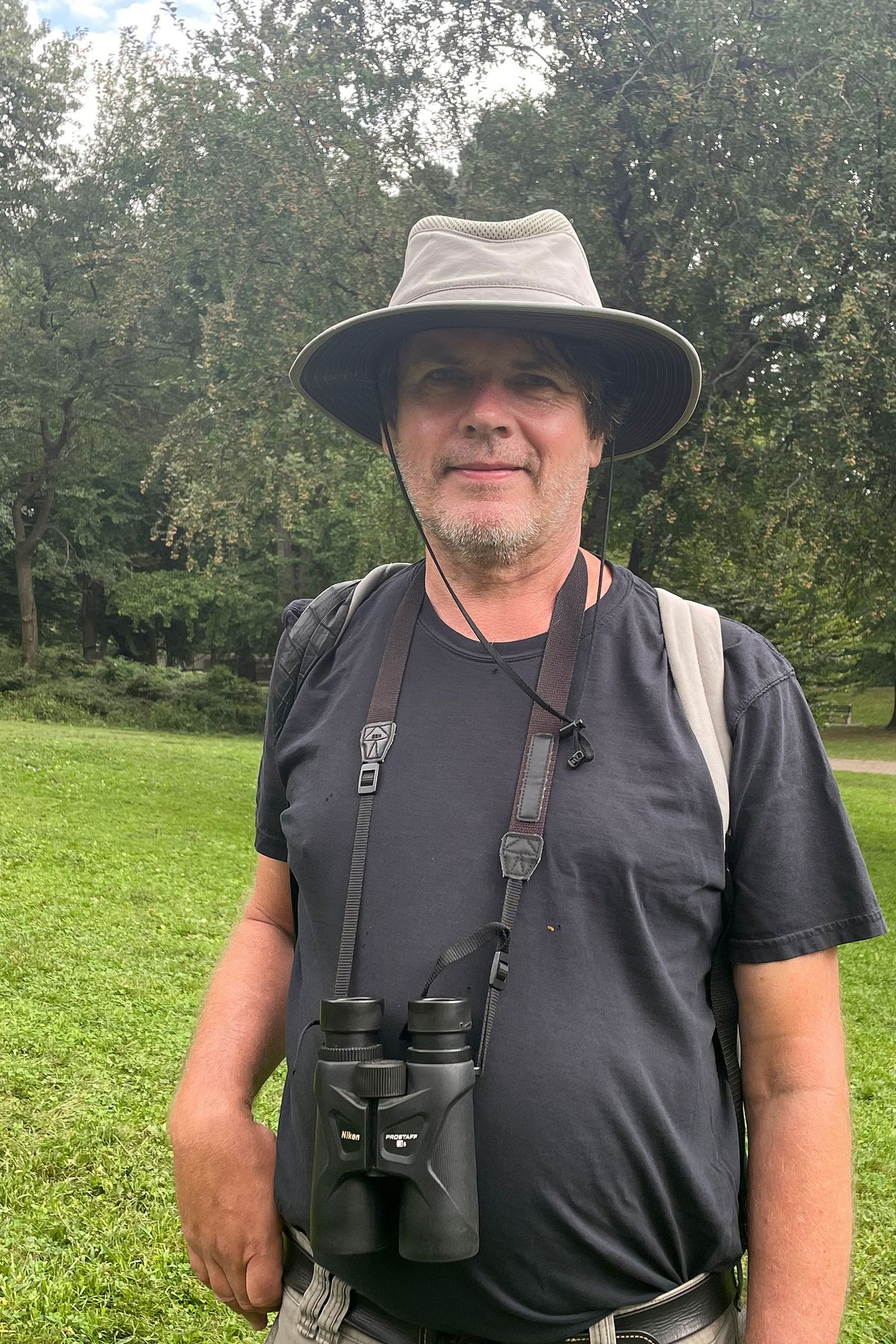 Kevin Cisco, a 62-year-old birder from Manhattan, in Central Park on Sept. 20, 2021.