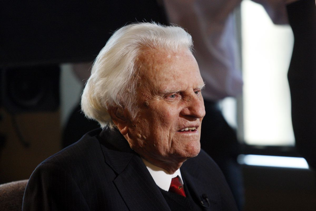 FILE - In this Dec. 20, 2010 file photo, evangelist Billy Graham, 92, speaks during an interview at the Billy Graham Evangelistic Association headquarters in Charlotte, N.C. Graham, who transformed American religious life through his preaching and activis