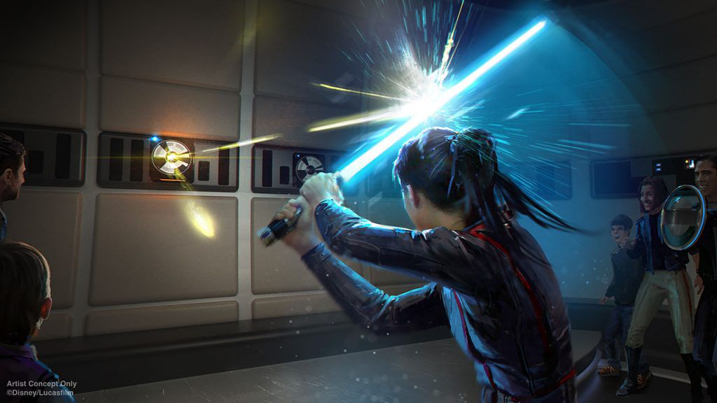 a guest who looks like rey trains with a lightsaber in star wars hotel concept art