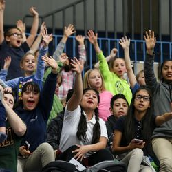 People in the stands cheer as free t-shirts are tossed out at a Salt Lake City Stars gamer against the Los Angeles D-Fenders at the Lifetime Activities Center in Taylorsville on Wednesday, Feb. 08, 2017.