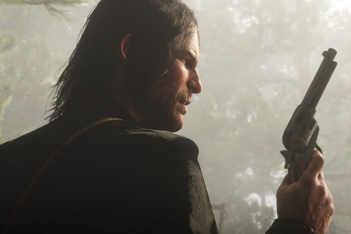 Red Dead Redemption 2 - John Marston with a pistol.