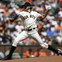 San Francisco Giants starting pitcher Barry Zito throws to the Arizona Diamondbacks during the first inning of a baseball game, Monday, Sept. 3, 2012, in San Francisco.