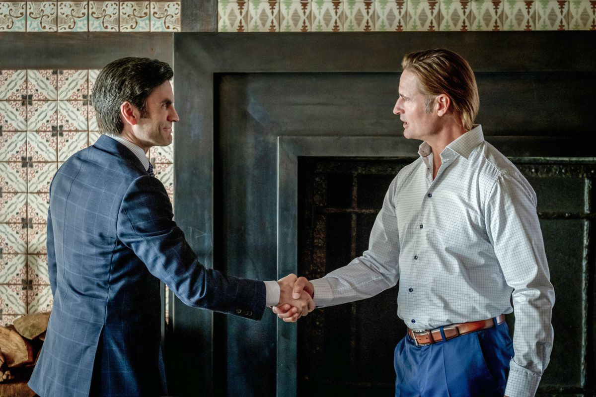 (L-R) Wes Bentley as Jamie Dutton and Josh Holloway as Roarke Morris. Yellowstone returns to Paramount Network for a third season on Father's Day.