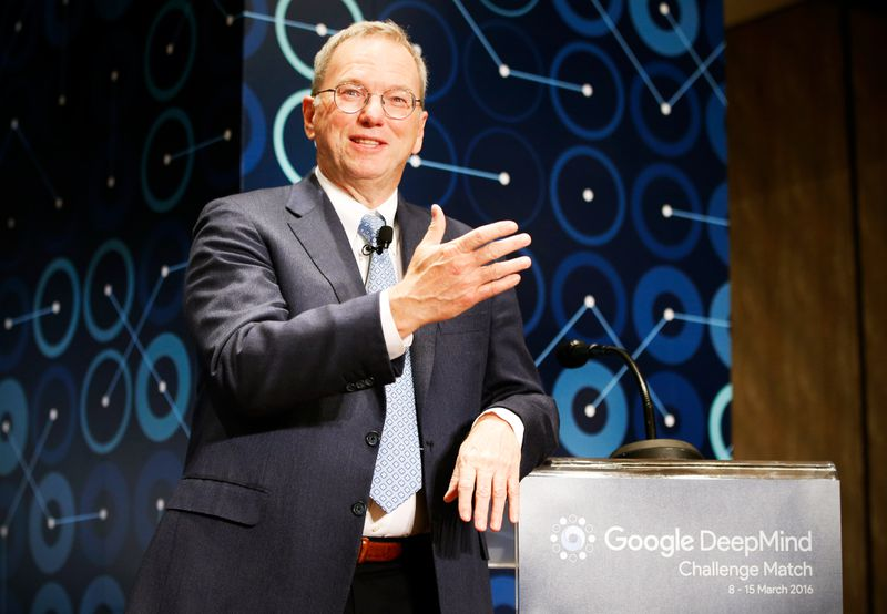 Eric Schmidt speaks during a press conference