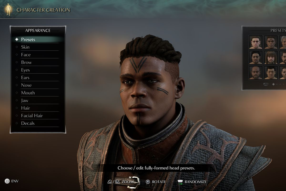 A Black male character with facial tattoos made the in Demon's Souls (2020) character editor