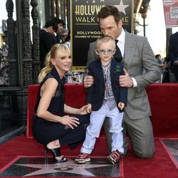 Actor Chris Pratt, right, is joined by his wife, actress Anna Faris, and their son Jack during a ceremony to award Pratt a star on the Hollywood Walk of Fame on Friday, April 21, 2017, in Los Angeles. (Photo by Chris Pizzello/Invision/AP)