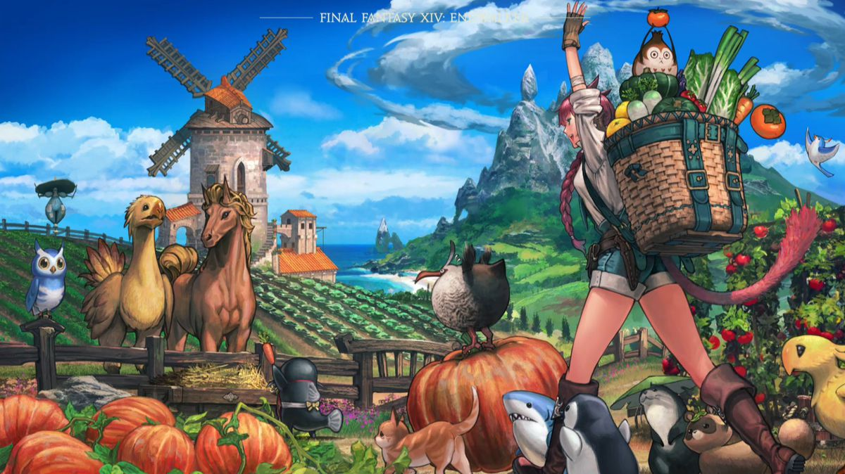 A catgirl farmer carries crops in a basket on her back as she walks through a farmland surrounded by creatures