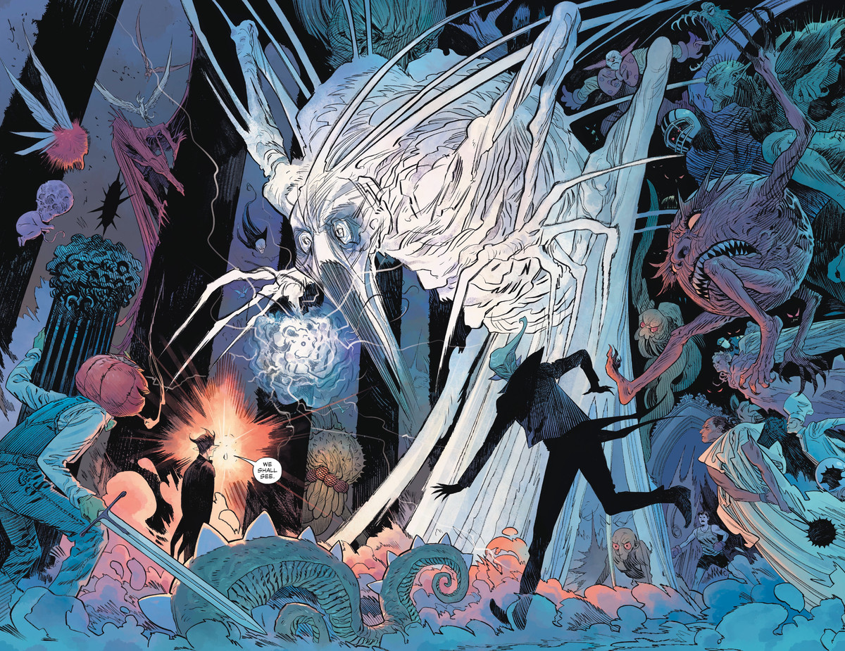 Lucien the Librarian and all the other denizens of the Dreaming face off against the dark side of Wan, a sentient computer virus, in The Dreaming #19, DC Comics (2020).