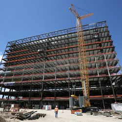 The new patient tower at Utah Valley Hospital is under construction in Provo on Tuesday, July 5, 2016.