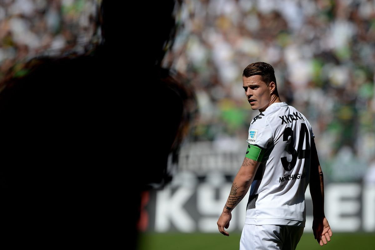 Granit Xhaka stares down some kind of horrifying phantom because apparently he plays in Game of Thrones