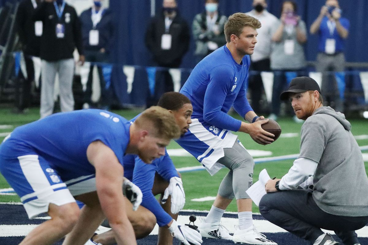 Quarterback Zach Wilson throws during BYU pro day in Provo on Friday, March 26, 2021.