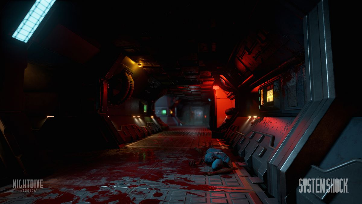 System Shock remake - bloody hallway with corpse