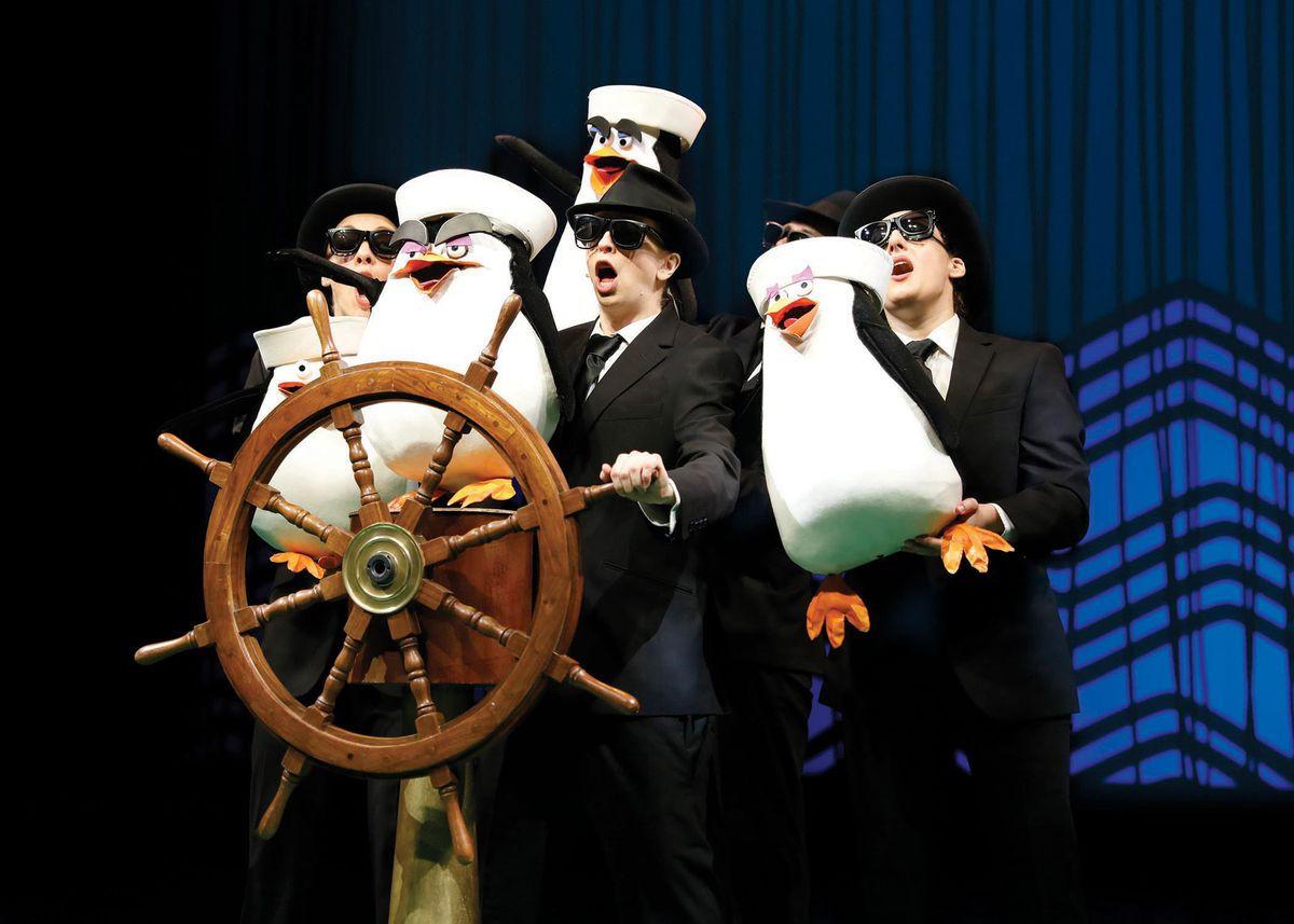 """The penguins make a getaway in """"Madagascar – A Musical Adventure,"""" at Chicago Shakespeare Theater through Aug. 27. 