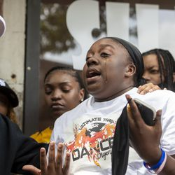 Zahrya Grimes, niece of Verndell Smith, speaks to reporters at Ultimate Threat Dance Organization's studio, Thursday, May 20, 2021. Verndell, the founder of the dance studio was shot and killed yesterday.