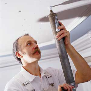 <p>By affixing this loose ceiling with an acrylic adhesive injected through 3/16-inch holes throughout the damaged area, repairs can be made without adding permanent hardware to the plaster surface.</p>