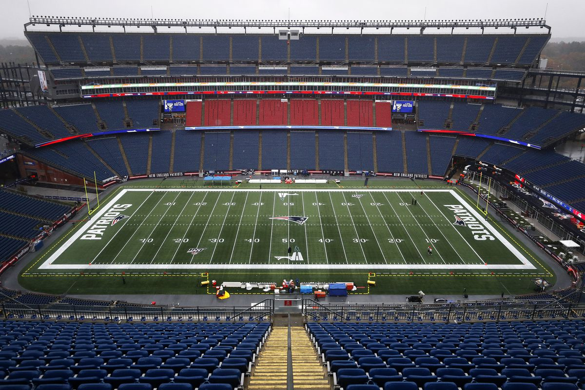 A General view of Gillette Stadium before the game between the New England Patriots and the Cleveland Browns at Gillette Stadium on October 27, 2019 in Foxborough, Massachusetts.