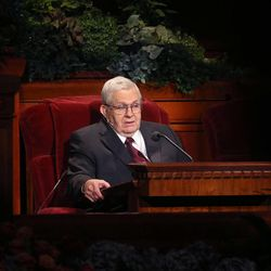 President Boyd K. Packer, the President of the Quorum of the Twelve Apostles of The Church of Jesus Christ of Latter-day Saints talks during the afternoon session of the 183rd Semiannual General Conference of The Church of Jesus Christ of Latter-day Saints Saturday, Oct. 5, 2013, in Salt Lake City.