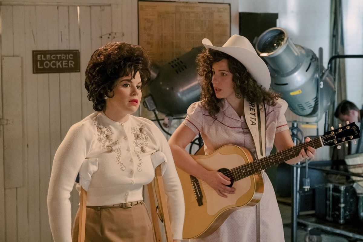 """Jessie Mueller stars as Loretta Lynn (right) and Megan Hilty portrays Patsy Cline in a scene from """"Patsy & Loretta."""" airing on Oct. 19 on Lifetime."""