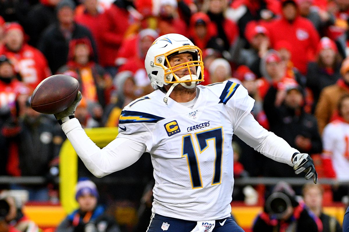 Los Angeles Chargers quarterback Philip Rivers throws a pass during the second half against the Kansas City Chiefs at Arrowhead Stadium.
