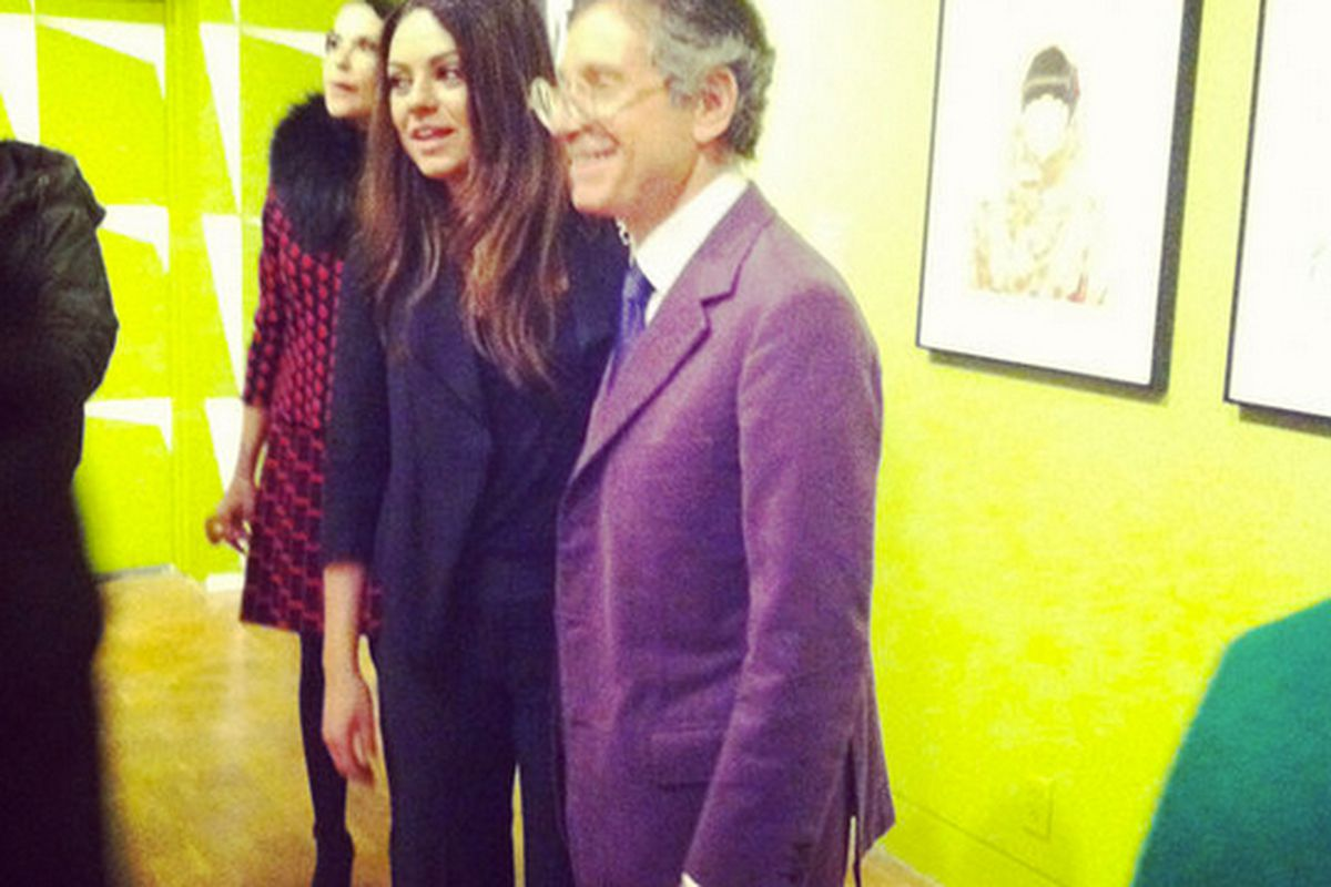 """Mila Kunis with Jeffrey Deitch at last year's Peggy Moffitt <a href=""""http://la.racked.com/archives/2012/02/27/mila_kunis_and_more_inside_saturdays_moca_fashion_fete.php"""">party</a>."""