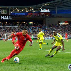 June 18, 2019 - Saint Paul, Minnesota, United States - USA midfielder Weston McKennie (8) dribbles the ball towards goal during the USA vs Guyana match at Allianz Field.