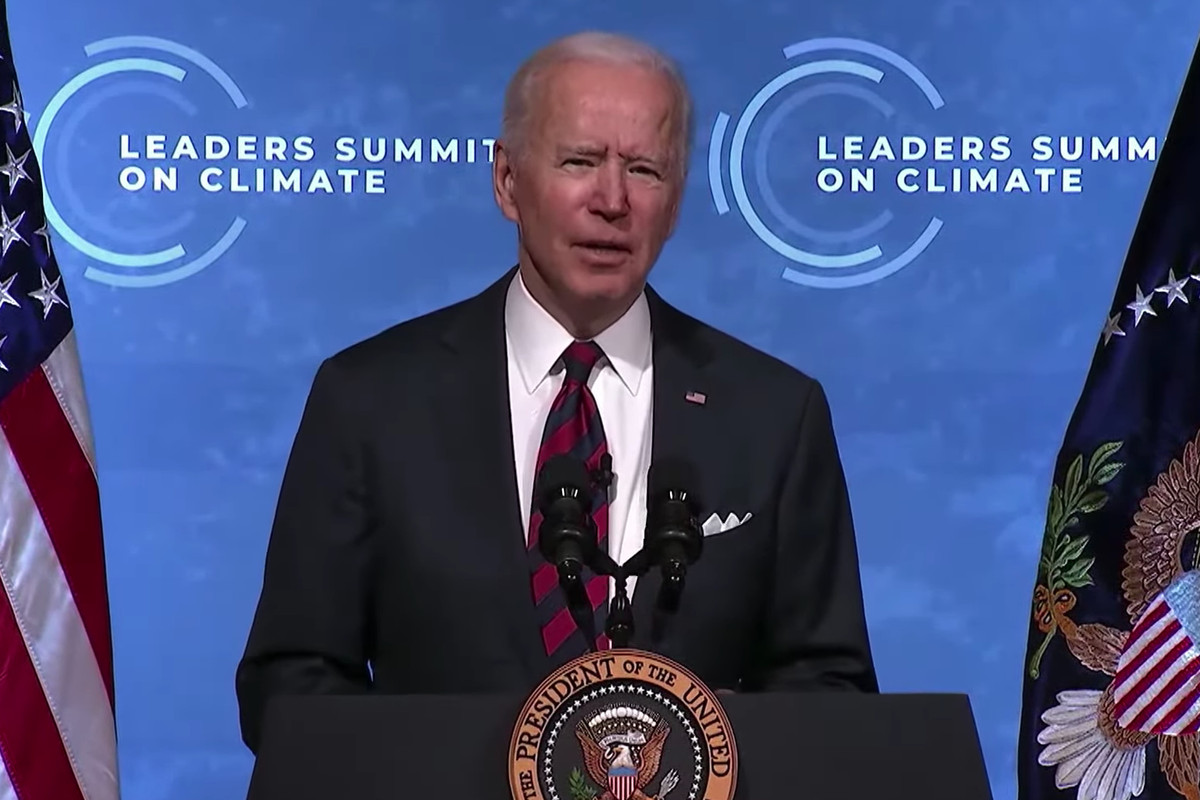President Joe Biden at the Leaders Summit on Climate