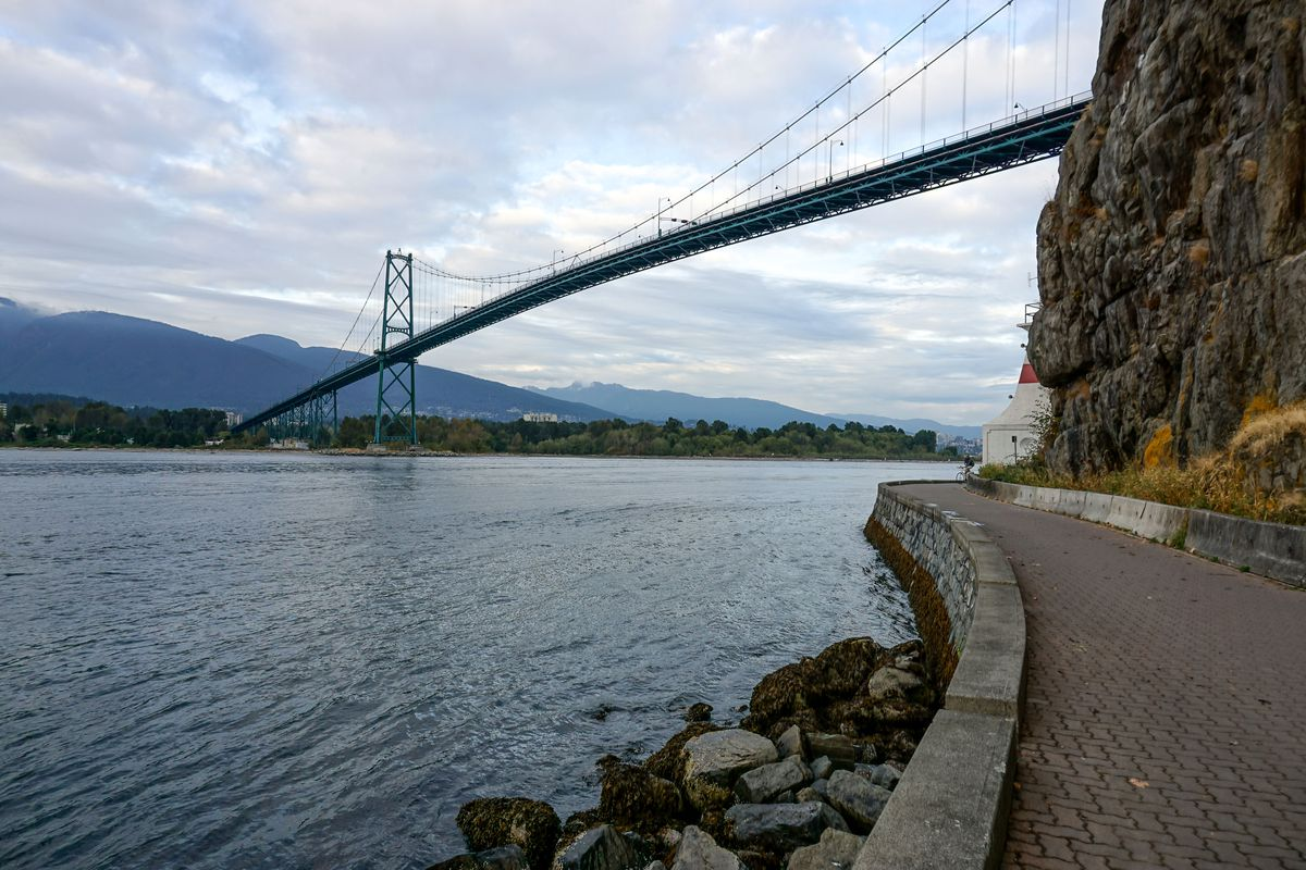 Looking out at the Lion's Gate Bridge from the beautiful seawall of Stanley Park.